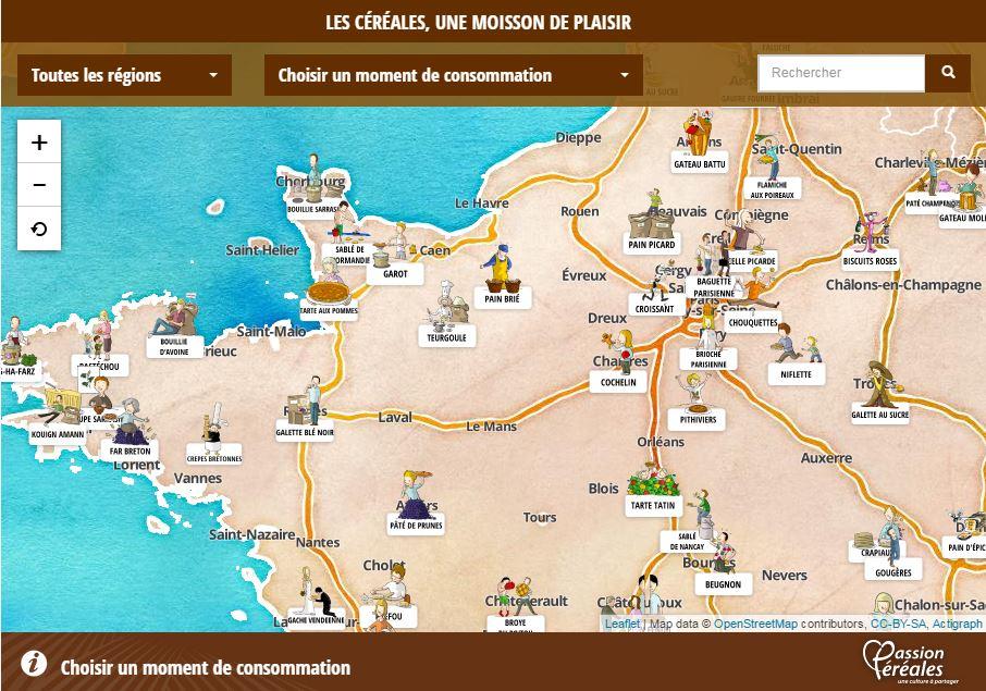 Image de la carte de France au Nord Ouest avec les spécialités culinaires de certaines ville