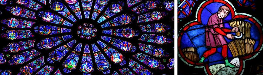 Rosace et vitrail de Notre Dame de Paris