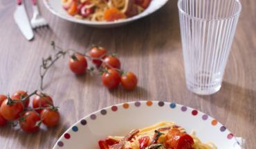 Spaghettis au chorizo et poivrons