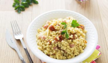 Risotto de blé aux tomates séchées et lardon
