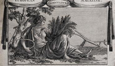 Gravure de W. Bromley datée de 1789 qui représente une allégorie de l'agriculture : Cérès couchée au milieu d'outils agricoles avec une gerbe de blé et une faux.