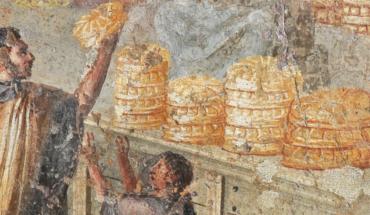 Distribution de pain sur une fresque de Pompéi - Exposition Dernier repas à Pompéi