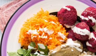 Buddha bowl vitaminé riz complet riz de camargue  aubergines carottes roquette